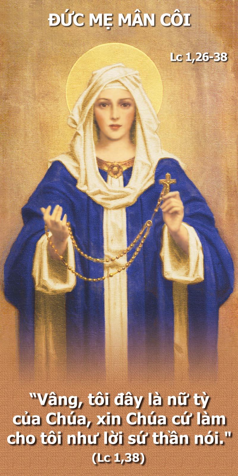 Đức Mẹ Mân Côi: Máu Chiến, Mến Chúa, Mang Chúa, Mau Cười